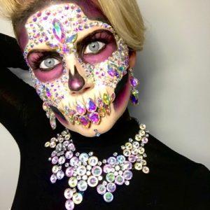 crystal skeleton halloween makeup
